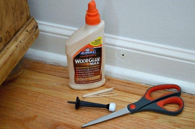 An easy way to fix a hole in wood using toothpicks and wood glue. | chatfieldcourt.com