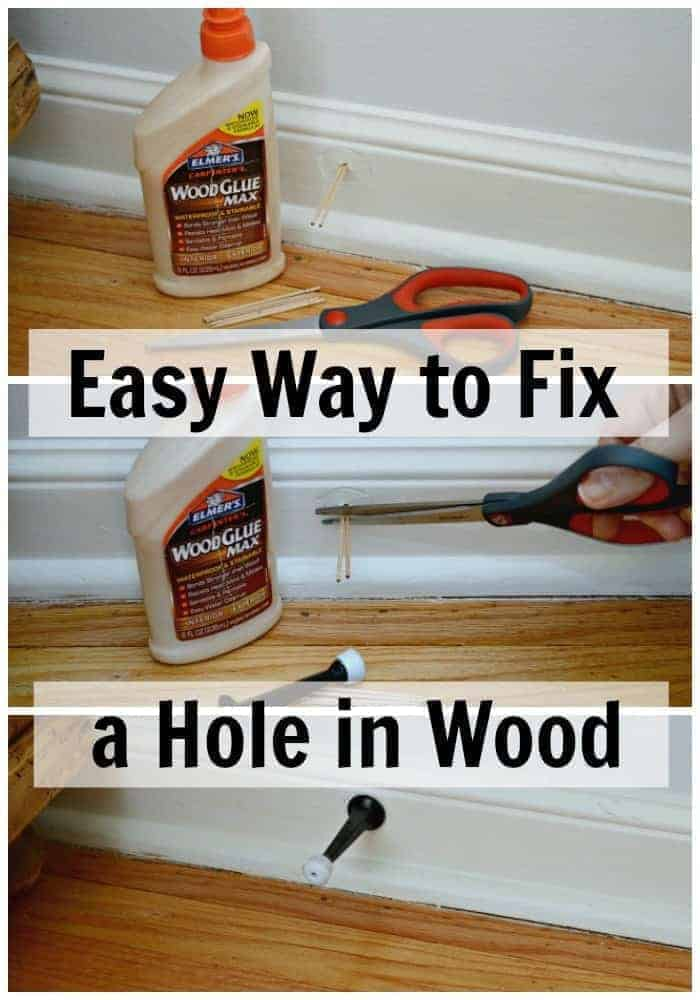 An easy way to fix a hole in wood using toothpicks and glue. | chatfieldcourt.com