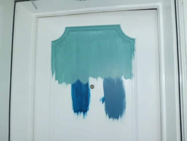 top color-Benjamin Moore Blue Lake bottom left-Benjamin Moore Symphony Blue bottom right-Benjamin Moore Santa Monica Blue