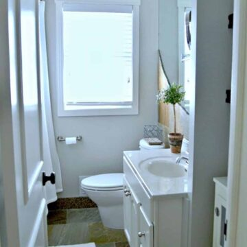 painted white bathroom vanity