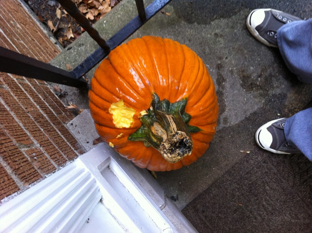 large orange pumpkin on porch with a huge hole nibbled out of it