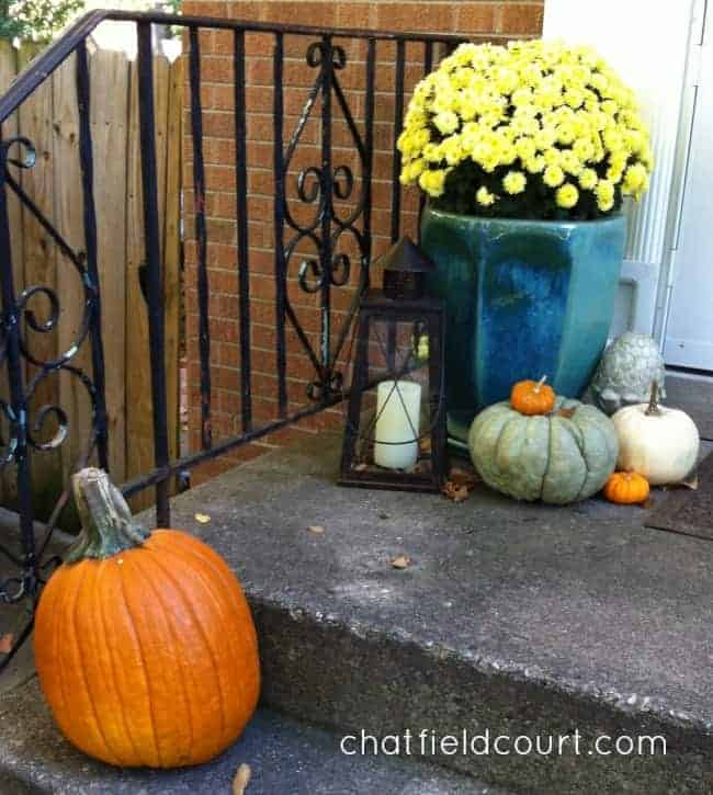 pumpkins and a potted yellow mum on a small front porch
