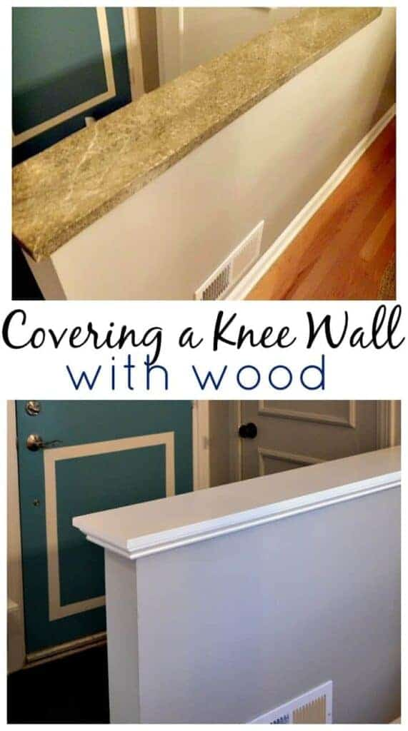 a knee wall before with green granite, and after with a wood knee wall cap