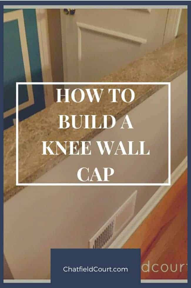 knee wall with granite top in an entryway, and a large graphic
