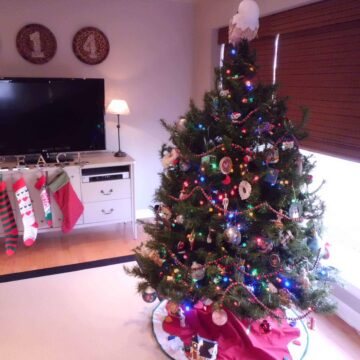 living room decorated for Christmas with tree and stockings