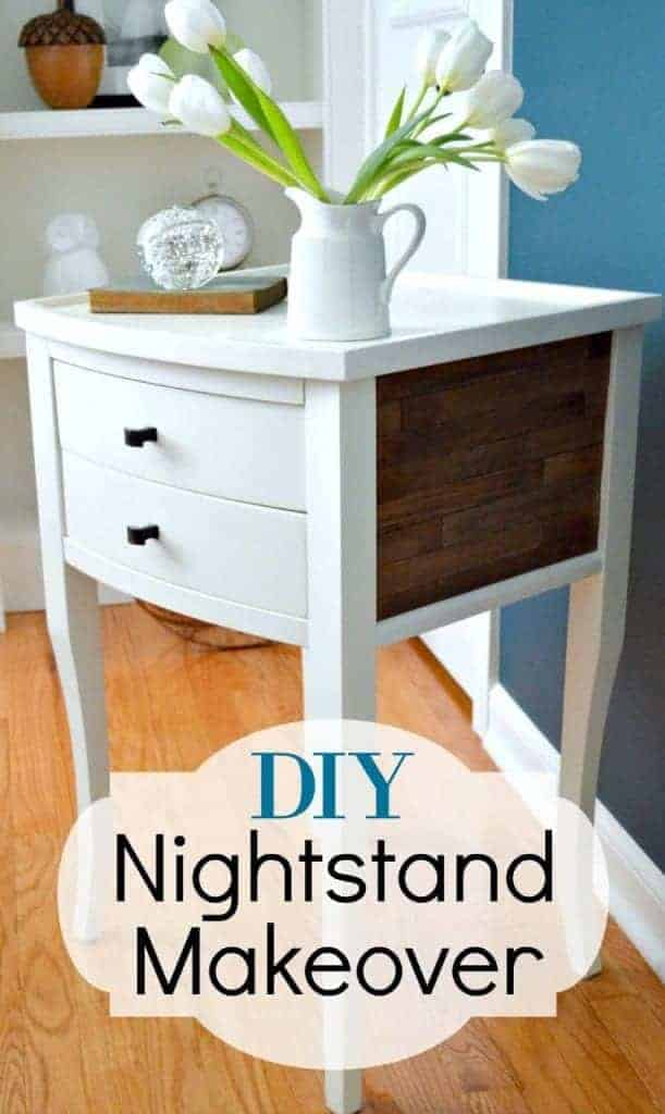 white wood nightstand with rustic sticks on the side and a flower vase on top