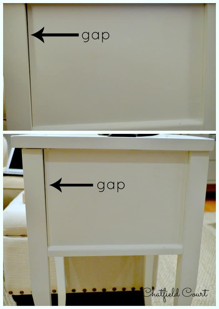 gap in seam on side of white wood nightstand