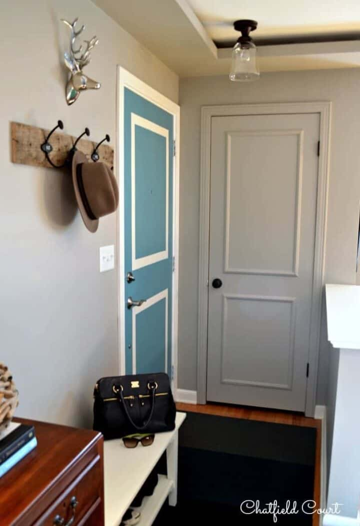 small entryway with coat closet