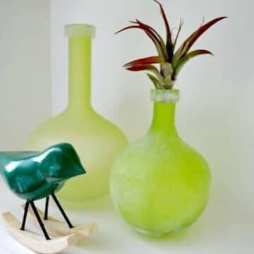 Green vases and bird decor