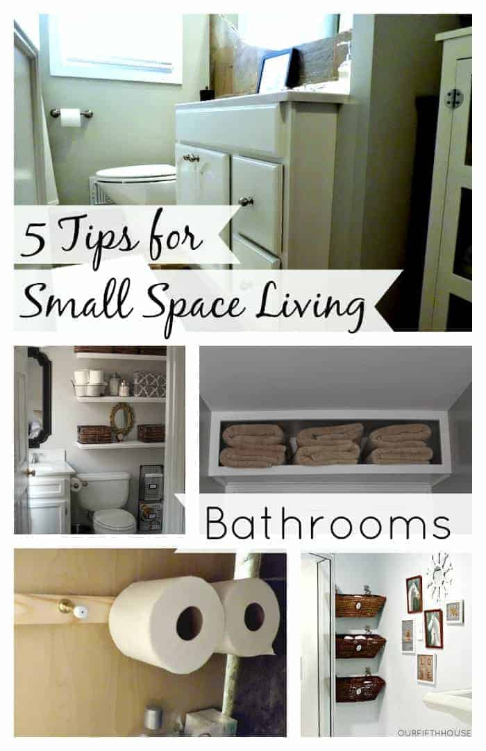 collage of tips for small bathrooms, with a large graphic