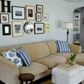 beige sectional sofa in a small living room