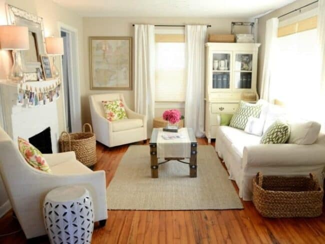 small living room that is white and bright