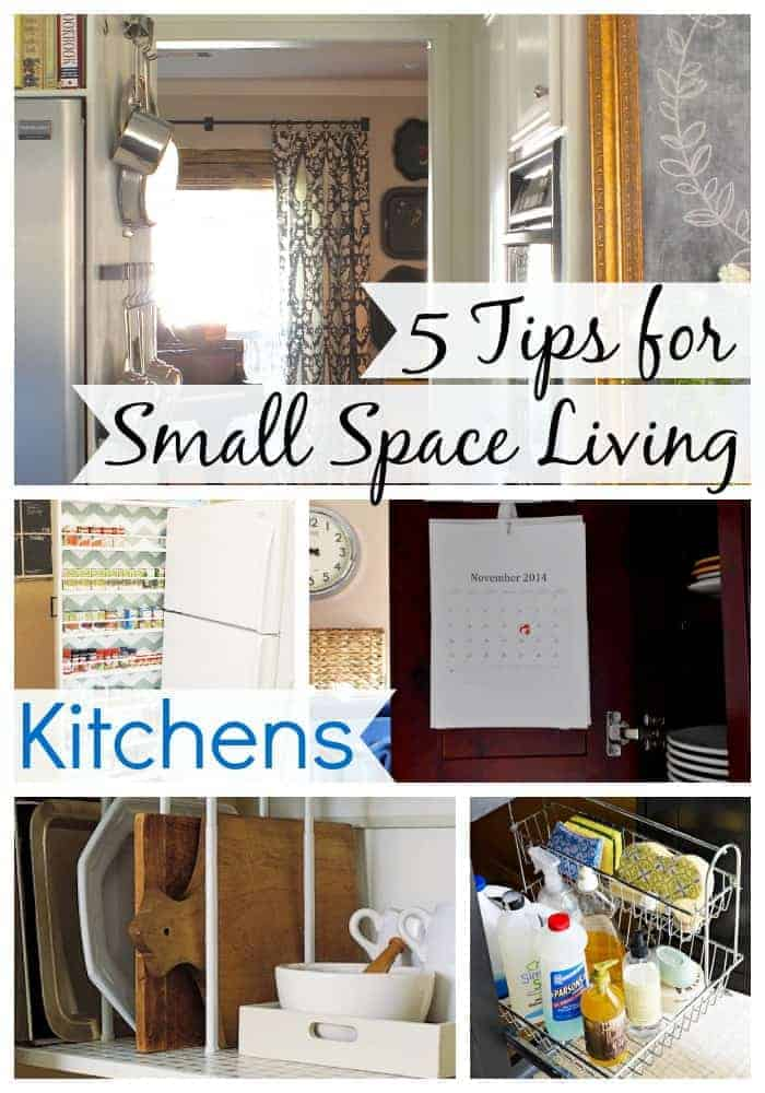 collage of small kitchen storage tips with large graphic