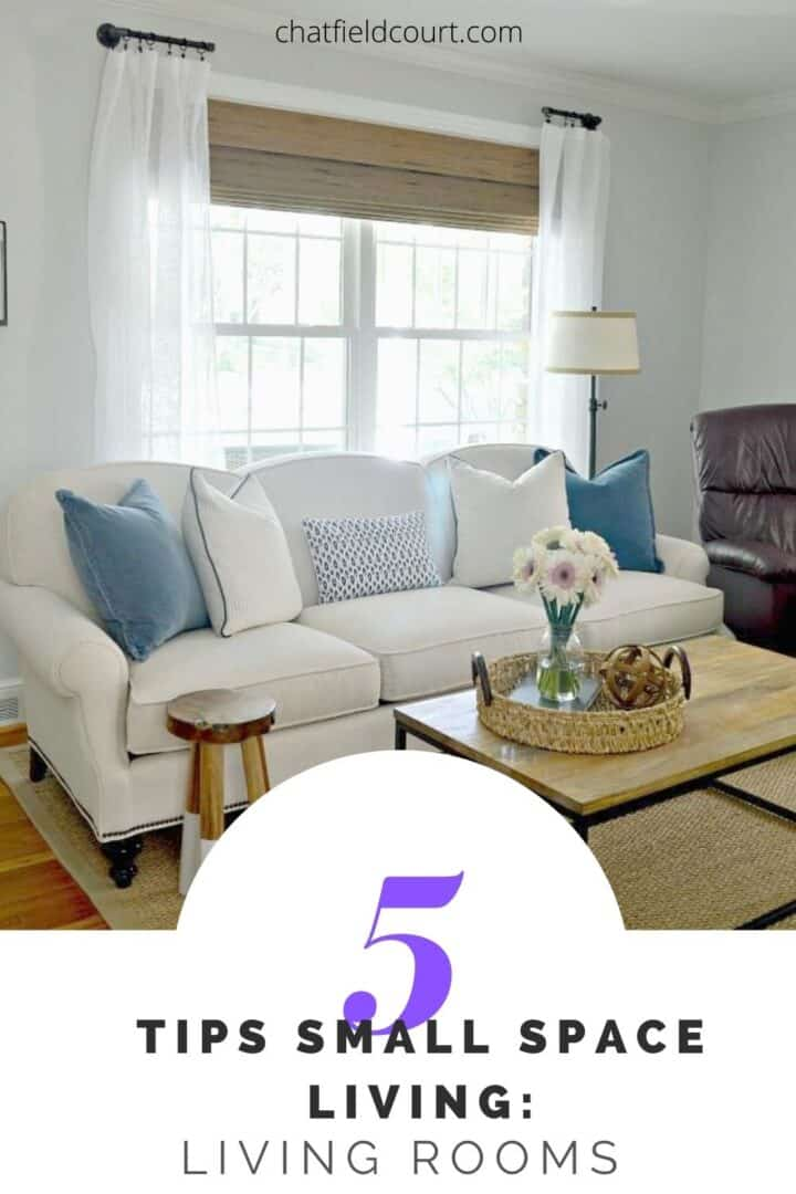 small living room with large pinterest graphic over it