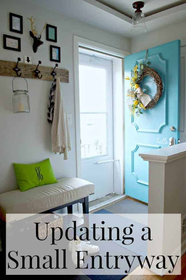Entryway Updates upholstered bench and turquoise front door | chatfieldcourt.com