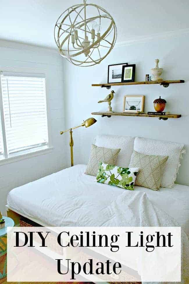 DIY ceiling light update in a small white bedroom