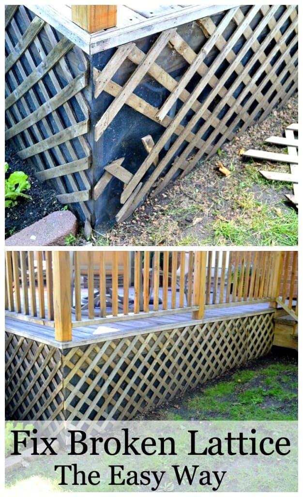 broken lattice around a deck