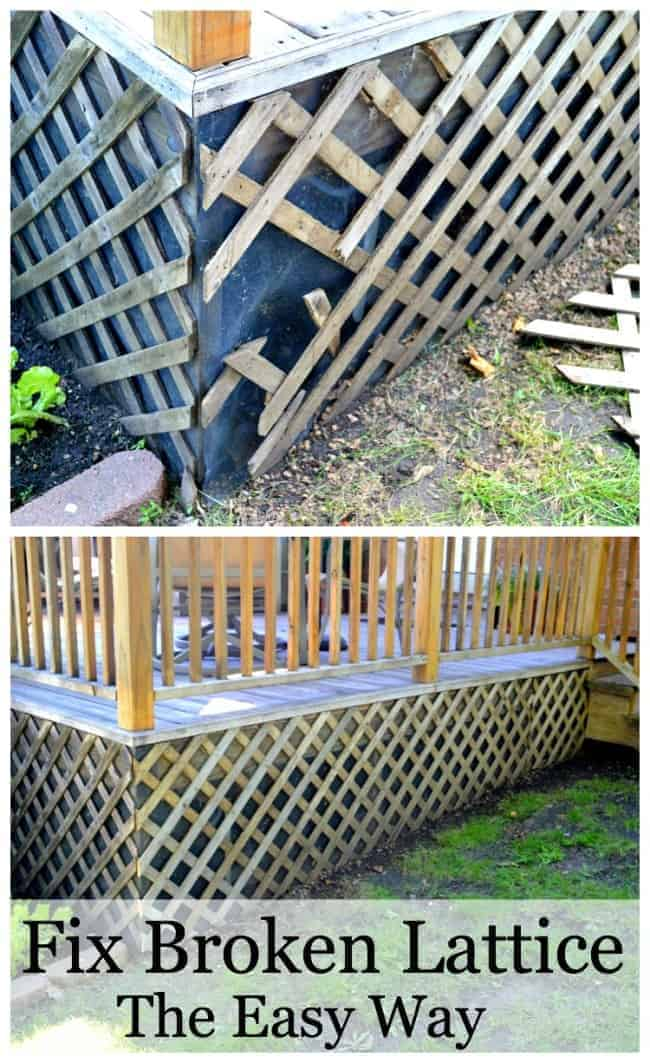 broken lattice around a deck and new lattice