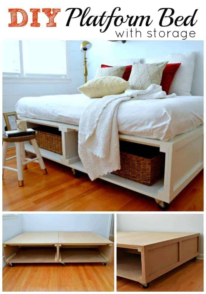 A cool DIY platform bed with tons of storage and wheels to make it easy to move around. | chatfieldcourt.com