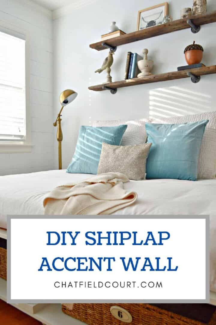 guest bedroom platform bed and shiplap wall