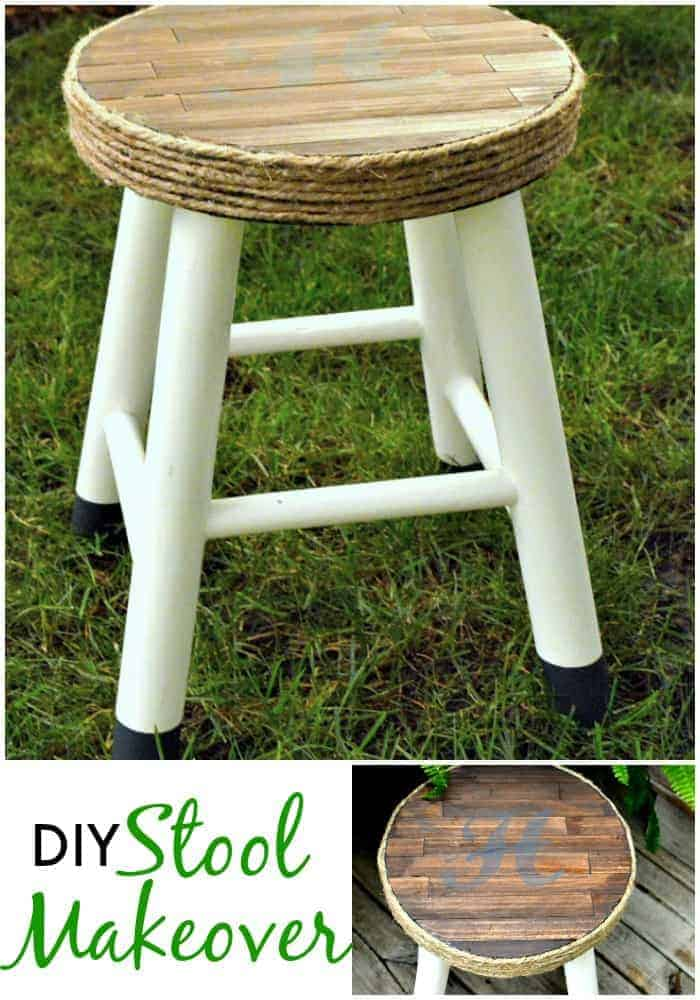 DIY stool makeover using paint sticks, stain and twine. | www.chatfieldcourt.com