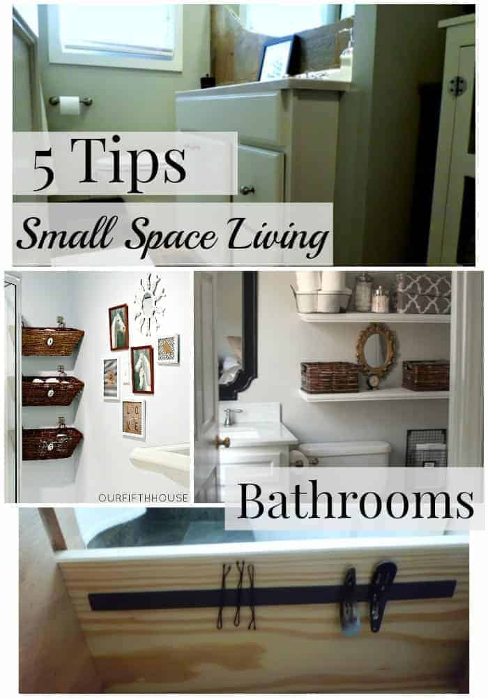 collage with small bathroom organization ideas and a large graphic