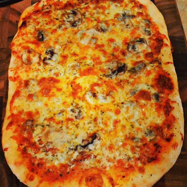 Yum...mushroom pizza. First time making our own dough and it was pretty good. #pizza