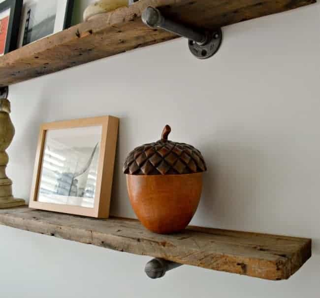 Barn wood industrial shelves | chatfieldcourt.com | Guest Post at The Everyday Home | www.everydayhomeblog.com
