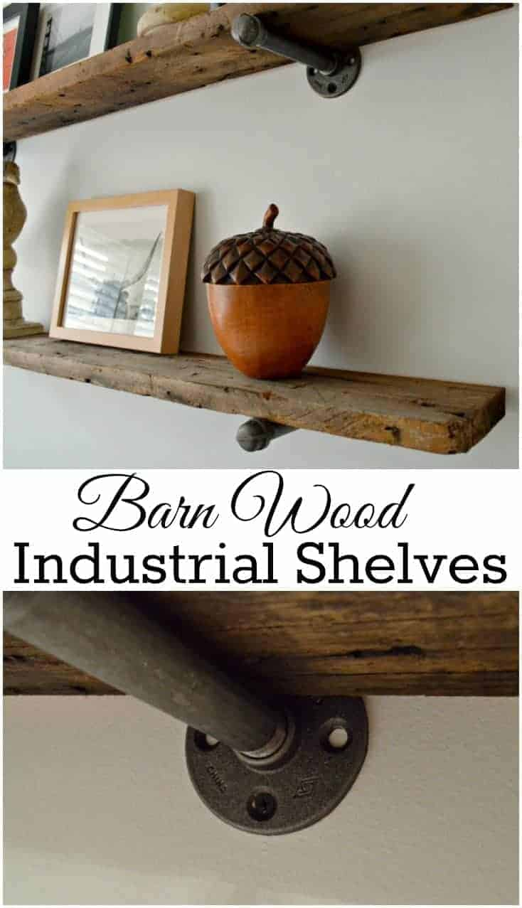 Adding barn wood shelves, using plumbing parts, in a guest bedroom. | chatfieldcourt.com