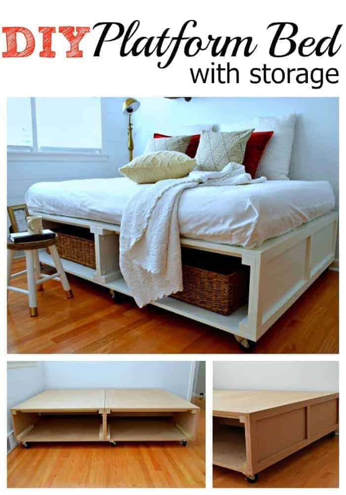 A DIY platform bed with tons of storage and wheels to move it around. Genius! | chatfieldcourt.com
