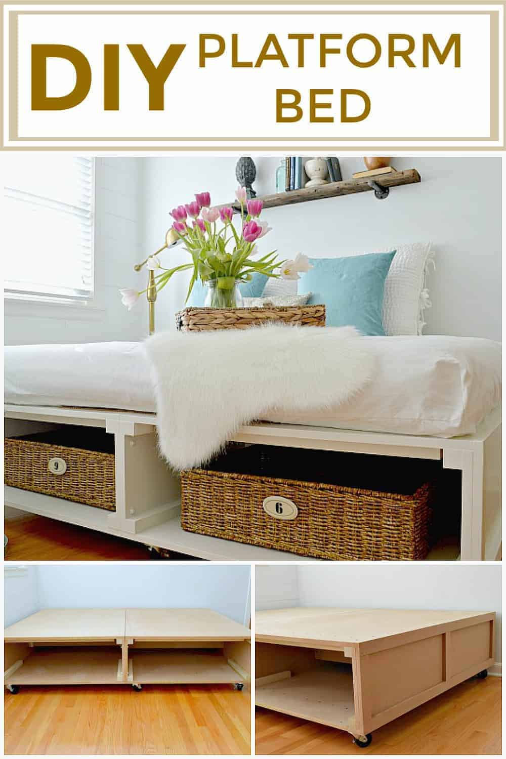 collage of DIY platform bed in a small bedroom