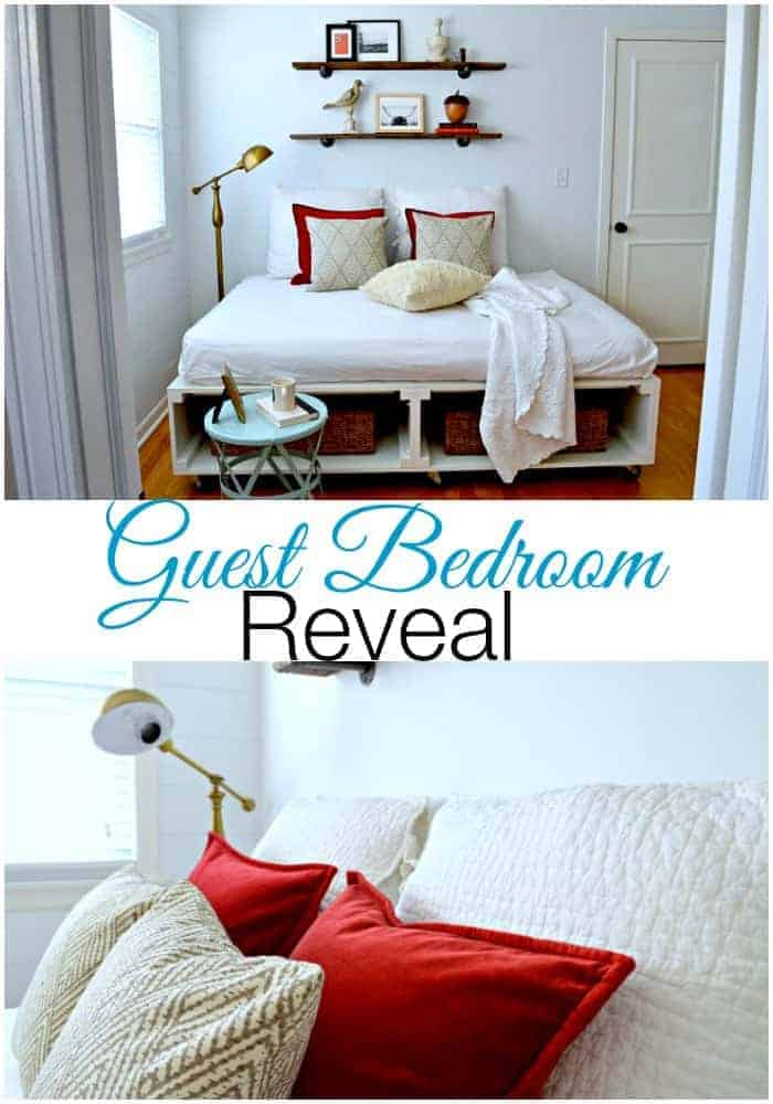 A pretty guest bedroom reveal including a fabulous DIY platform bed with tons of storage and barn wood shelves. | chatfieldcourt.com
