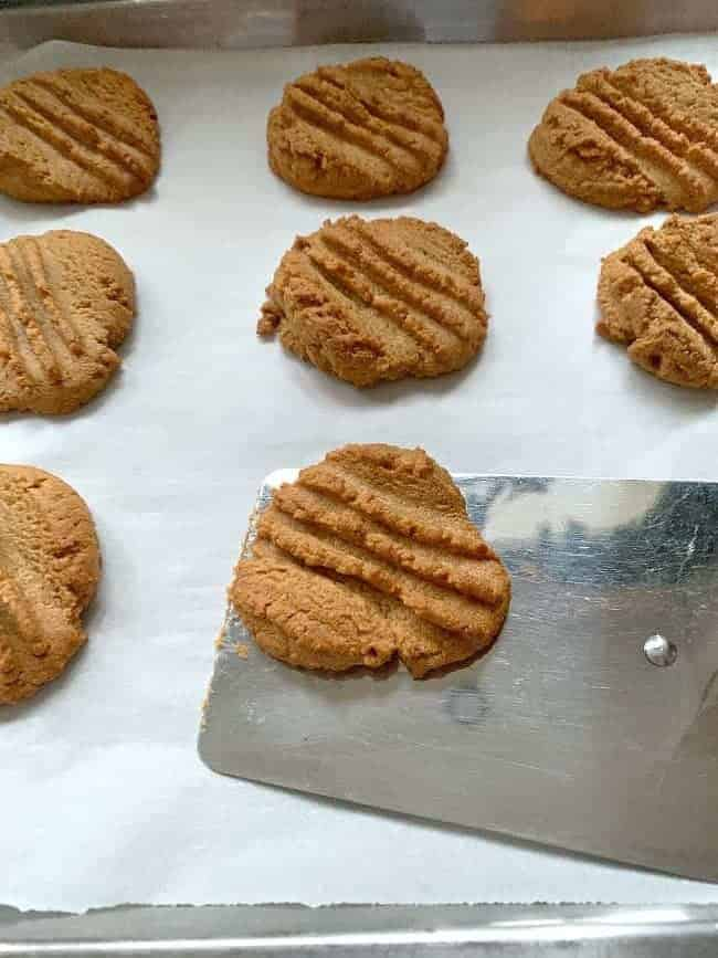 removing freshly baked peanut butter cookies from baking sheet with spatula