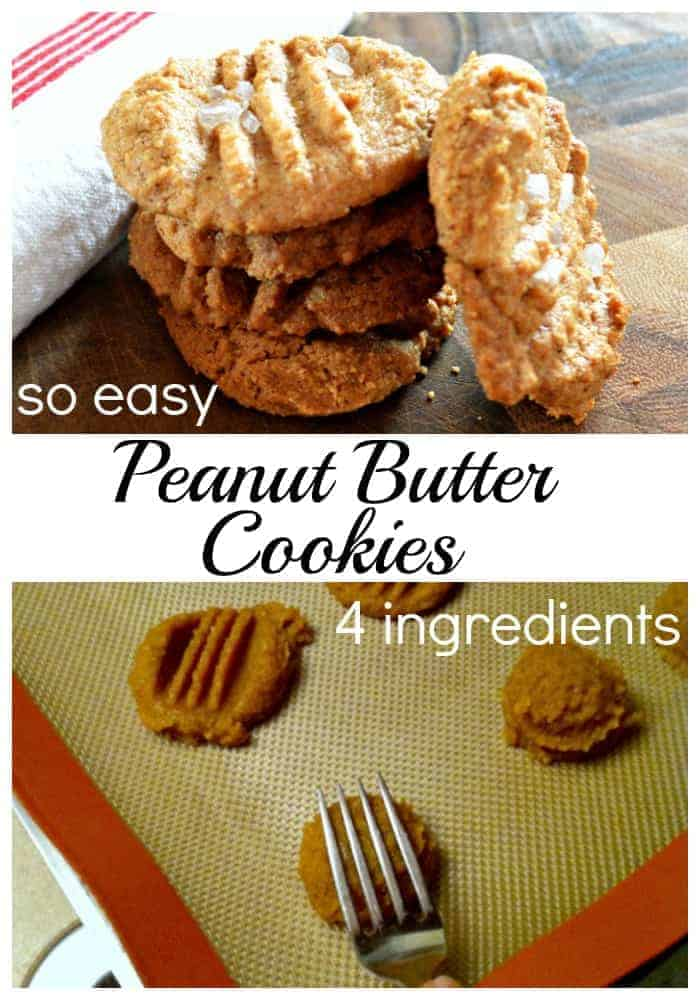 Easy flourless peanut butter cookies using just 4 ingredients. | chatfieldcourt.com