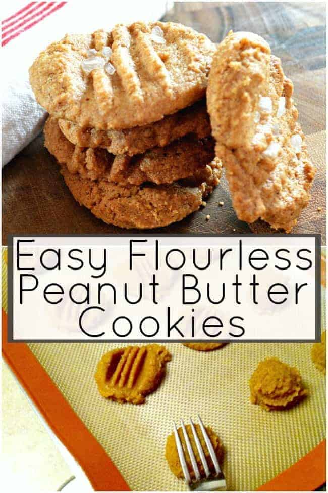 4 peanut butter cookies stacked on top of each other and fork mashing dough on baking sheet for this easy peanut butter cookie recipe