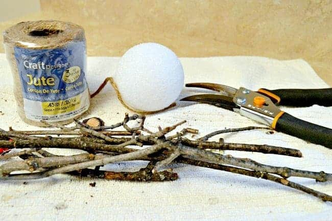 How to make an easy DIY rustic ornament with sticks from your backyard.