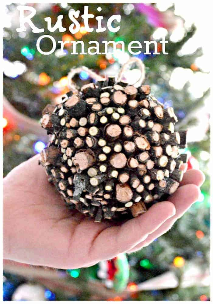 Create a DIY rustic Christmas ornament with sticks from your own yard.