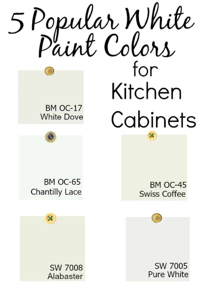 collage of 5 white paint color chips