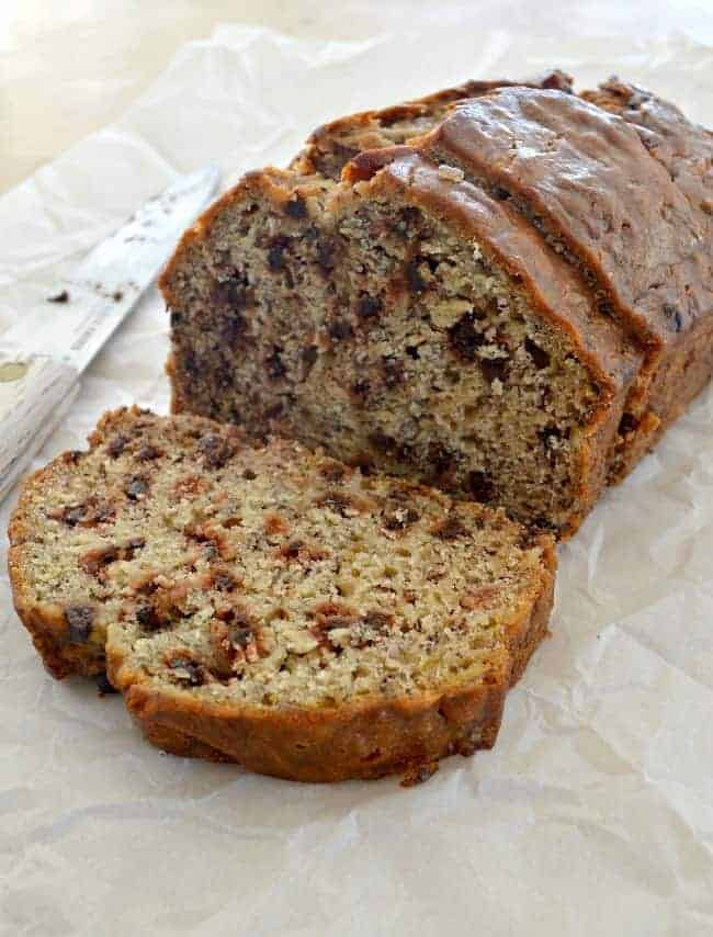 Love this delicious and easy recipe for banana bread with chocolate chips