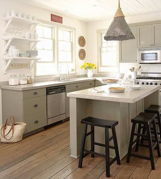 Kitchen Shelf Inspiration: Kitchen Plank Ceiling Inspiration