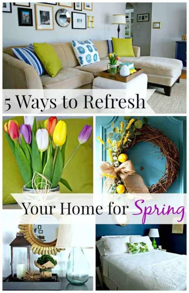 collage of spring home decorating tips