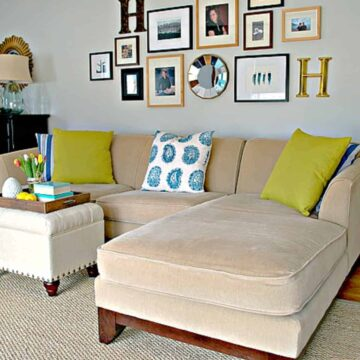 spring refresh in living room with grass green pillows on couch