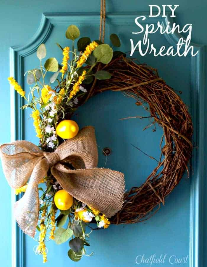 DIY Spring wreath for your front door. So easy! www.chatfieldcourt.com