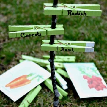 green DIY garden markers on a stick, which see packets behind them