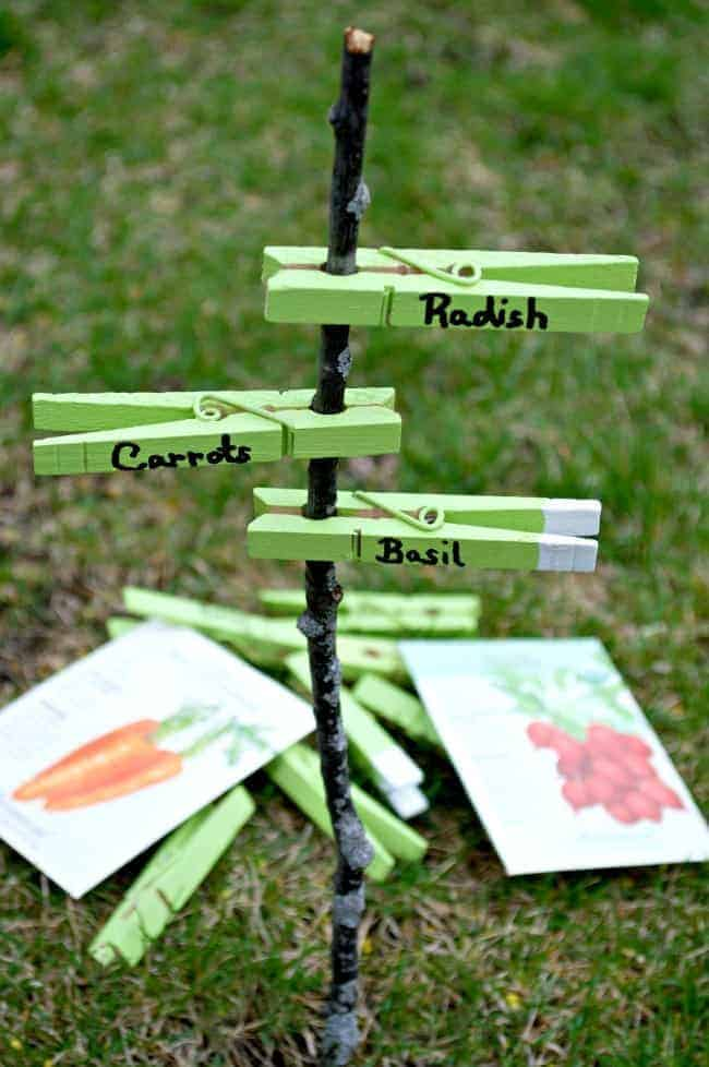 Easy DIY Garden Markers Made from Clothespins