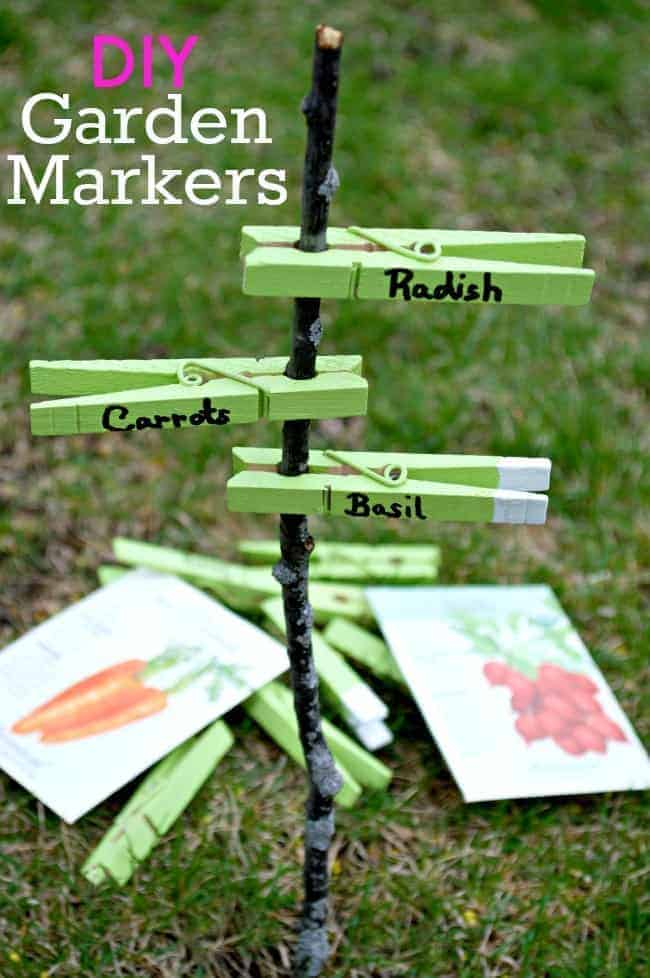 Mark your garden veggies with these fun and easy DIY garden markers using clothes pins, paint and a sharpie.| chatfieldcourt.com