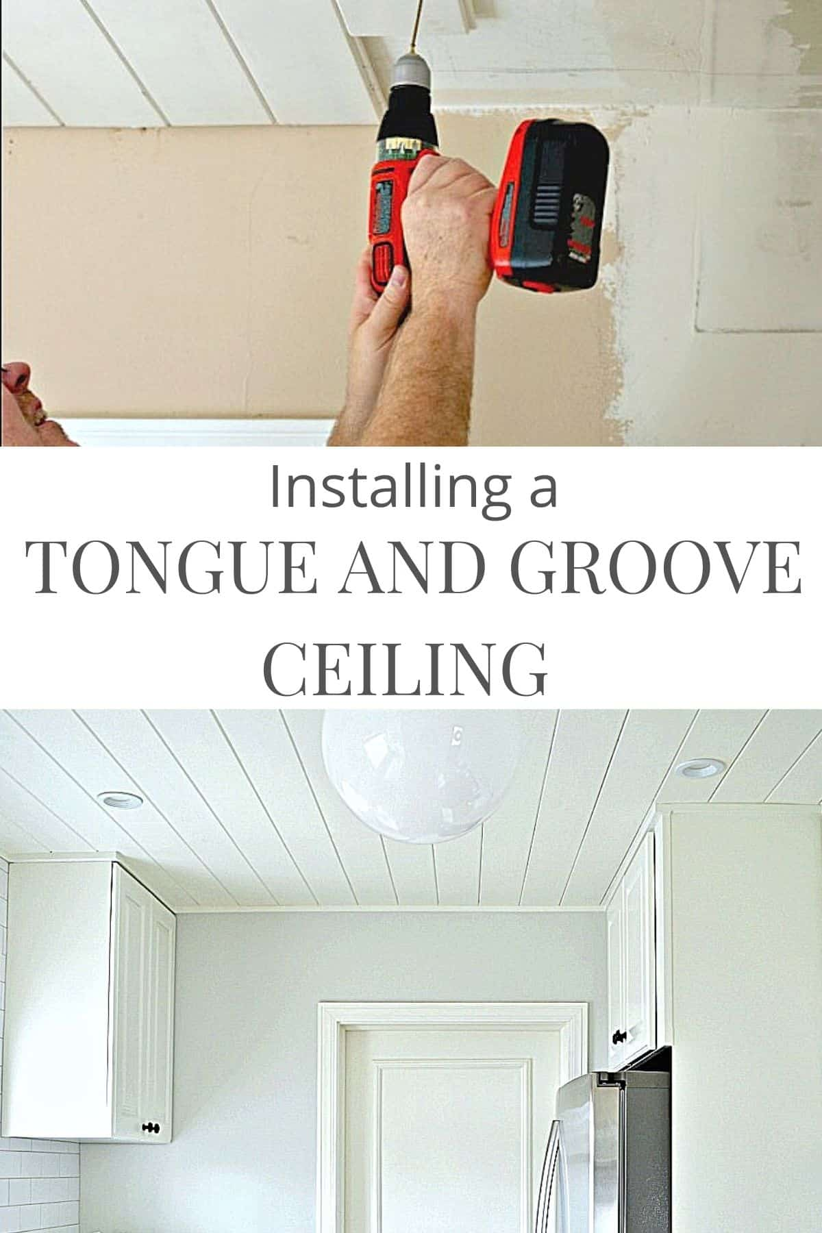 person installing a tongue and groove plank ceiling