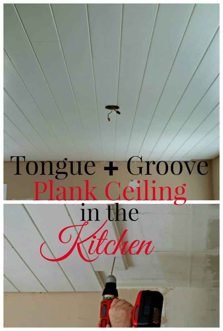 Tutorial for installing a tongue and groove plank ceiling in the kitchen. chatfieldcourt.com