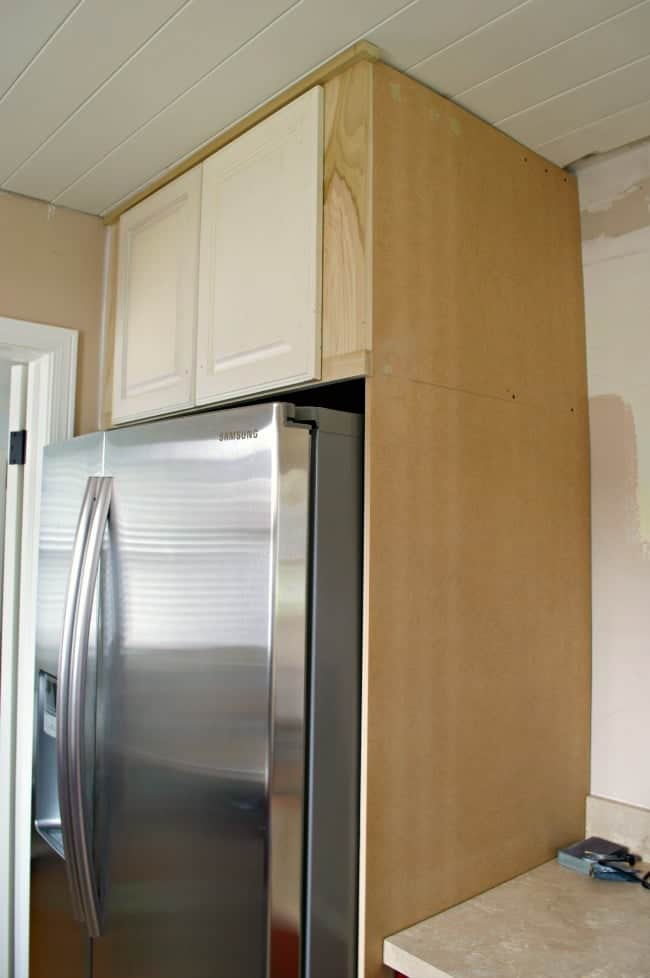completed refrigerator cabinet with doors before paint