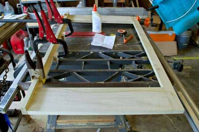 clamped door frame for refrigerator cabinet on table saw